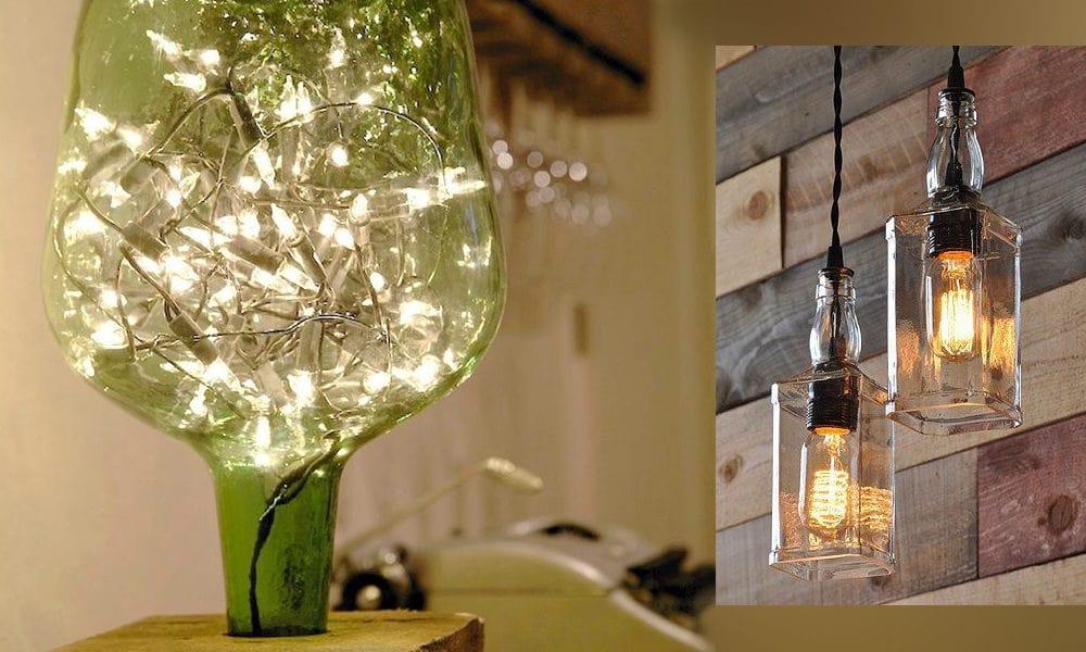 Convierte viejas botellas personalizadas en lámparas para decoración