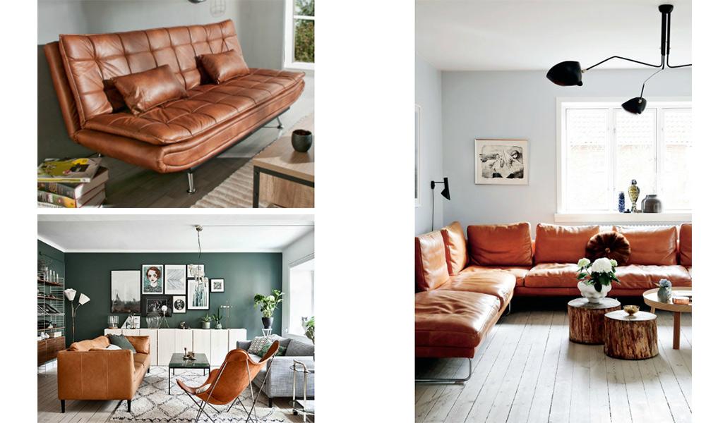 Sofá marrón de piel para el salón