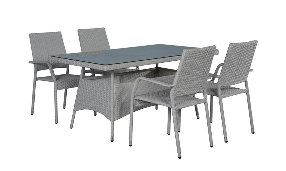 Conjunto mesa e 4 cadeiras de jardim PHUKET para terraço