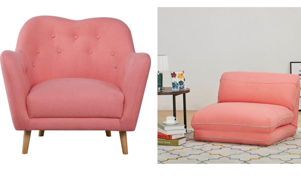 Sillón de tela BOO y Sillón cama de tela LOOP en color pintural coral