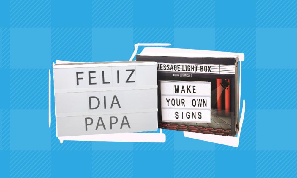 regalos para padres - Caja con mensajes LUZ LED Conforama