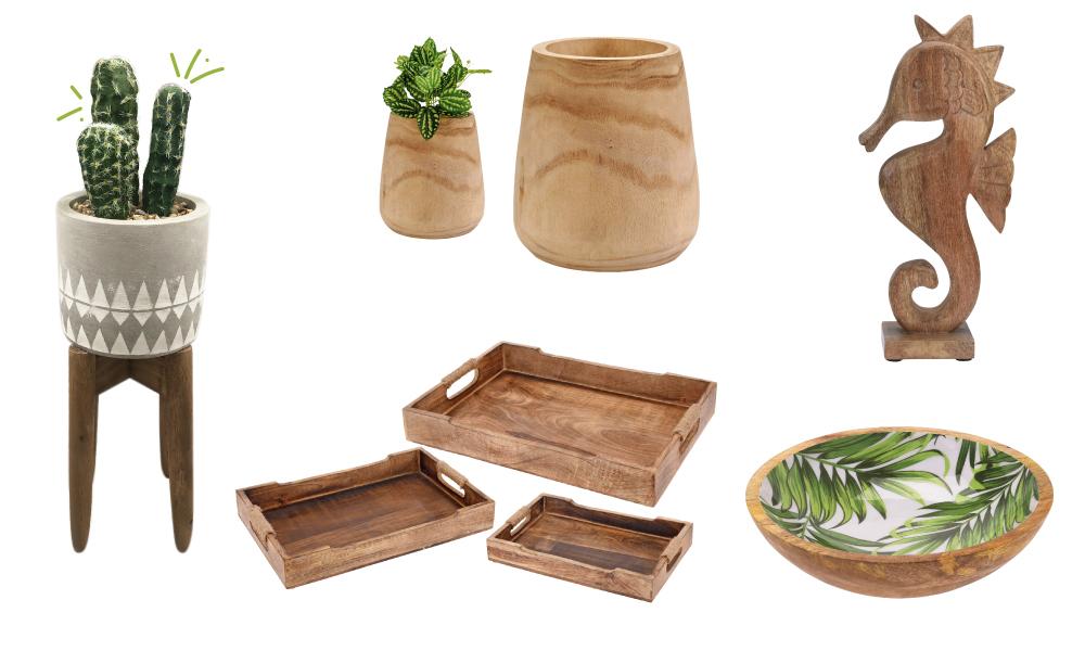 Elementos de decoração de madeira da Conforama