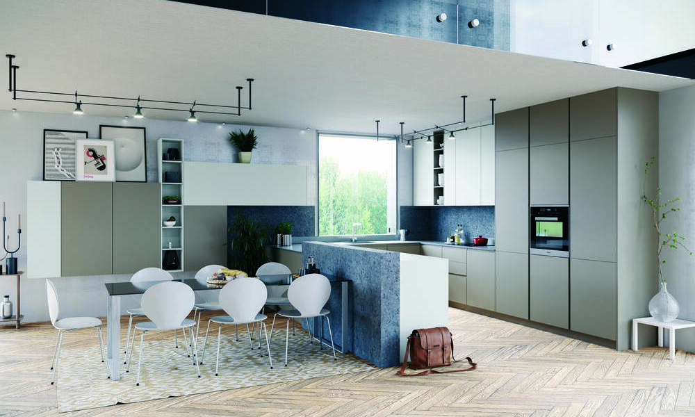 Cozinhas cinzentas contemporâneas
