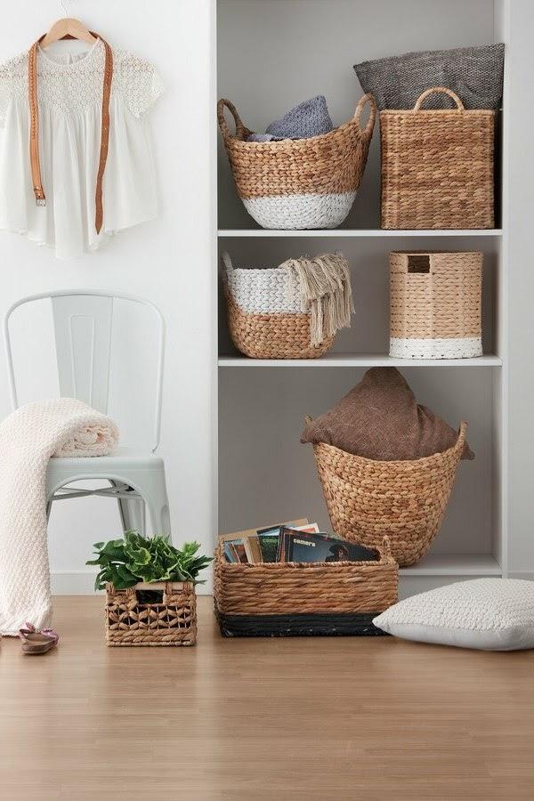 caixas de arrumação decorativas cestas de vime