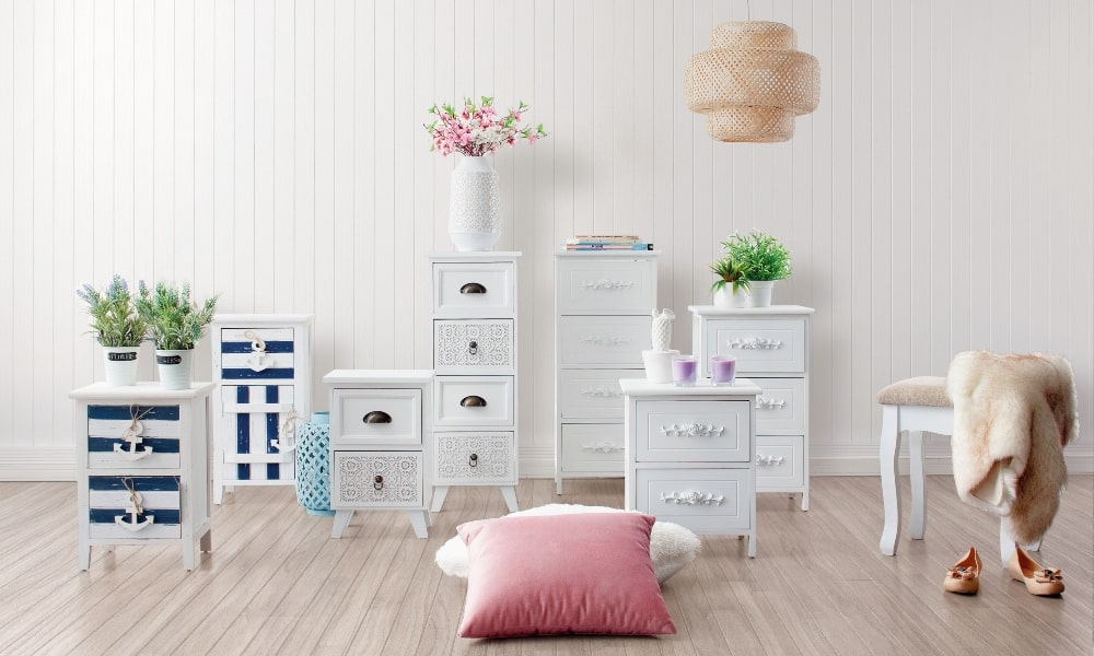 muebles shabby chic blancos y románticos