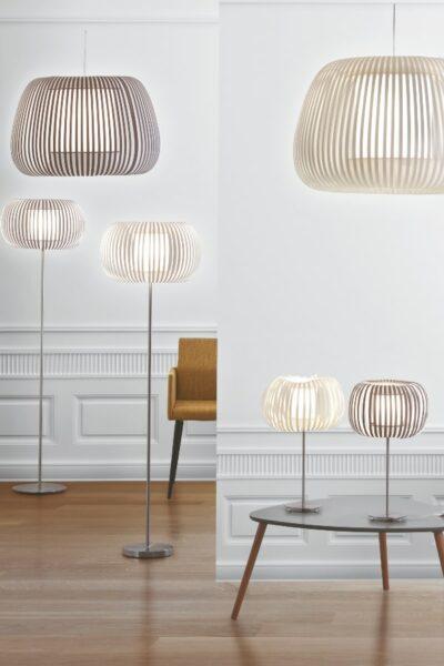 lamparas de techo, pie y sobremesa como complementos decorativos de madera en suelos de bambu