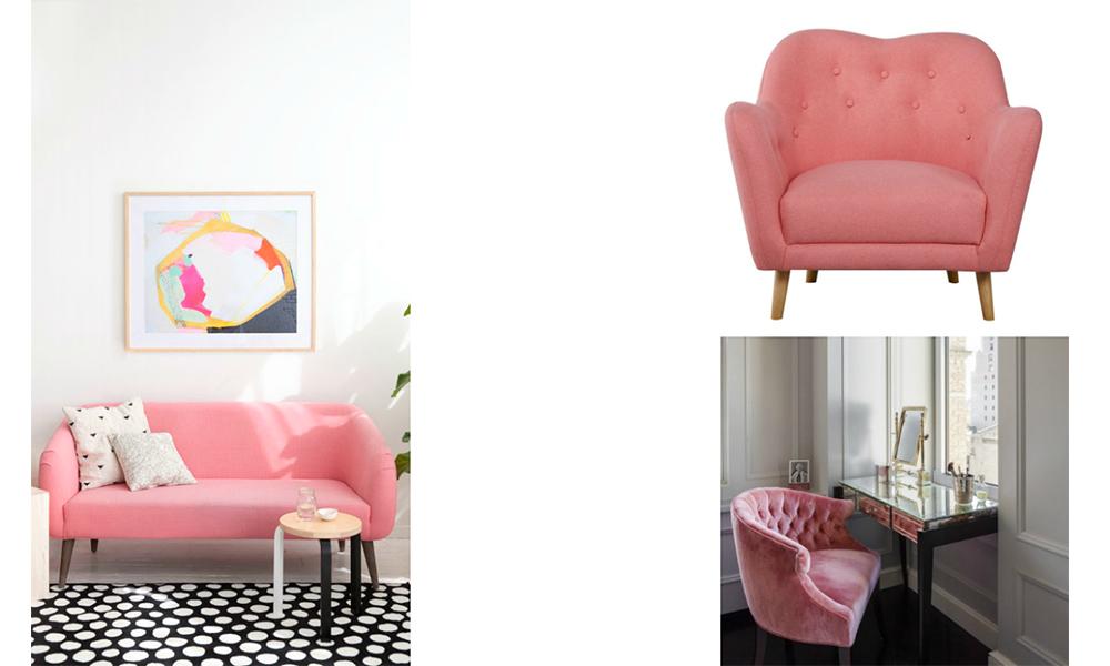 Sillón rosa para crear tu propio tocador