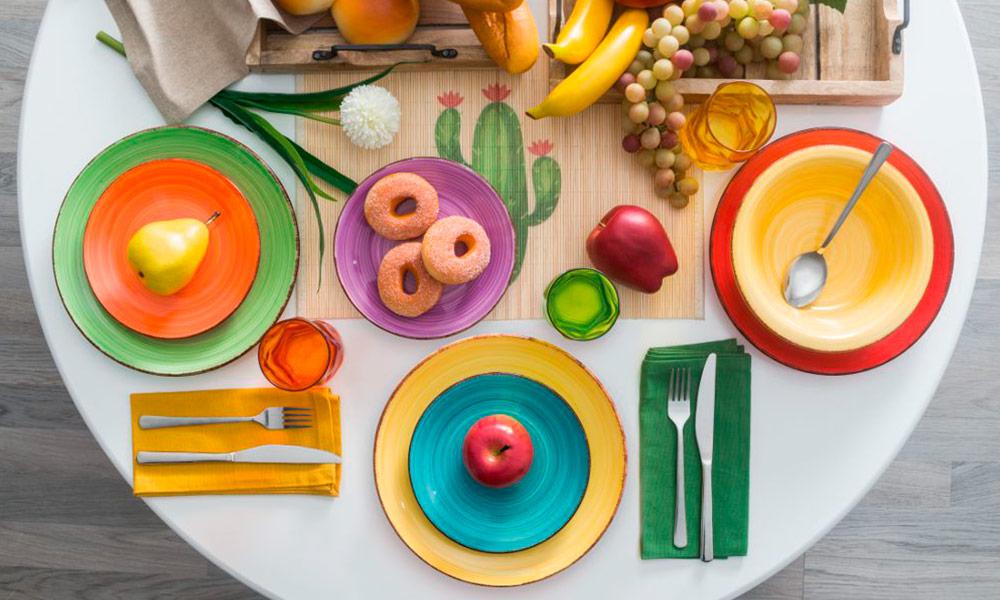 adornos mesas de comedor - Vajilla 18 piezas COLORS Conforama