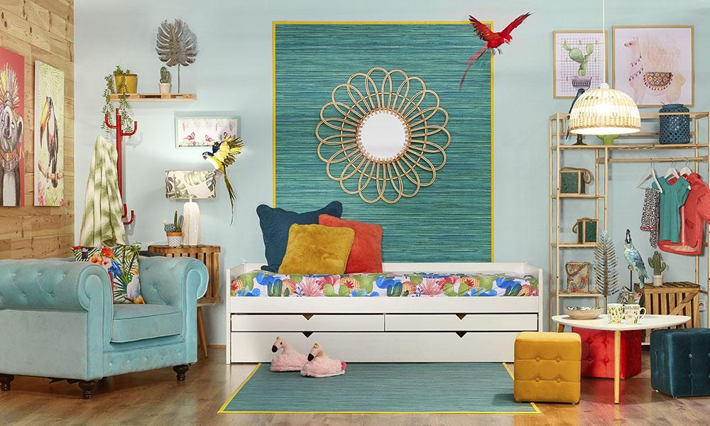 Dormitorio infantil ambientado en tendencia Summer Garden