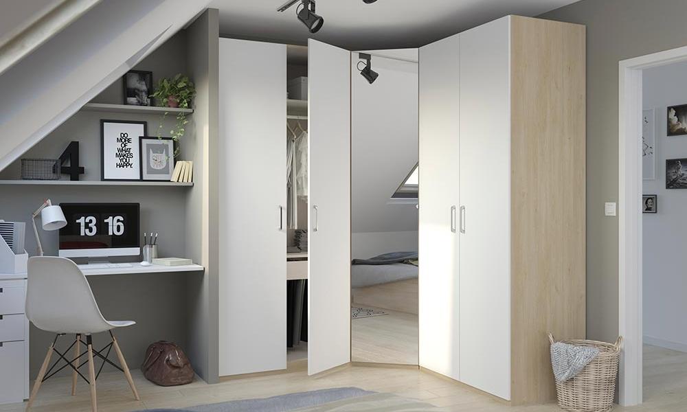 armario capsula de esquina con espejo central