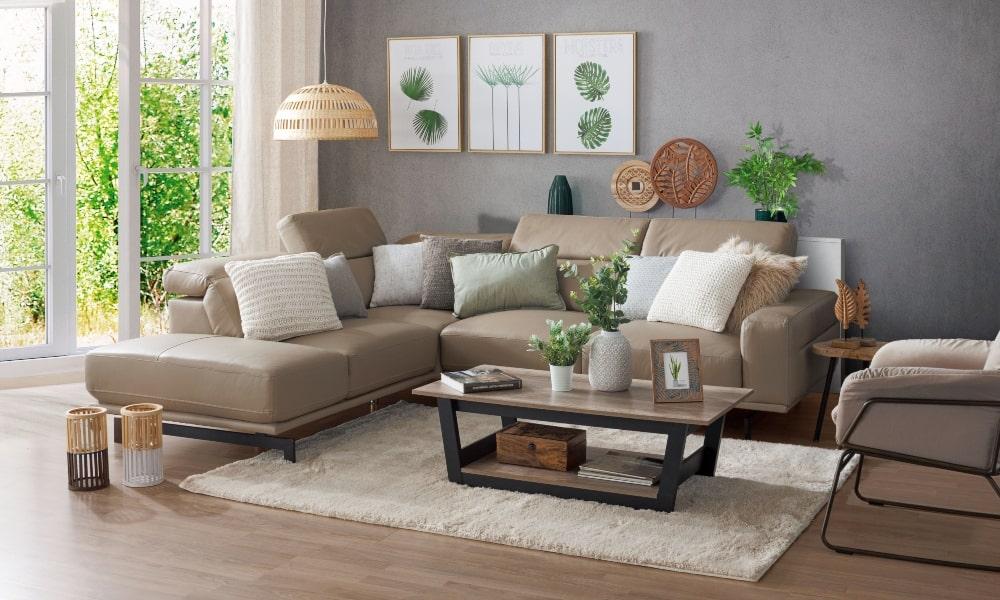 decoracion sofa beige con cojines