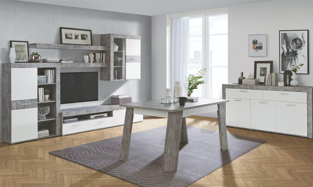 Luz indirecta salon grande con mobiliario blanco